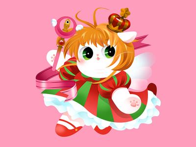 Anime Kitty : Sakura dress beautiful girl power comic sakura anime ui vector colorful hot japan lovely kitty gradient color flat cat cute effyzhang illustration