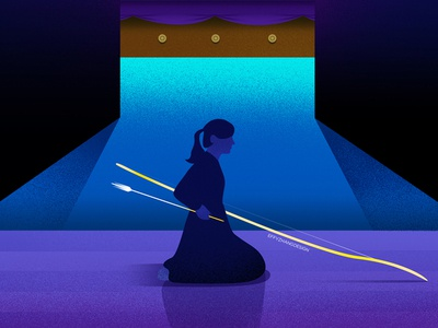 Silence in Kyudo sport traditional japan kyudo night girl power spirit color gradient google flat effyzhang illustration