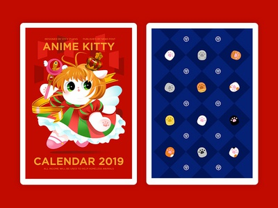 Anime Kitty Calendar Design (cover&backside) paw print poker card poker colorful popular lovely japan kitty gradient color flat cat cute icon effyzhang illustration