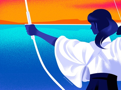 Silence in Kyudo art landscape modern girl sports traditional japan gradient color google flat effyzhang illustration
