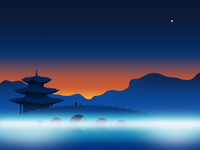 Under the China sky series illustration dawn traditional china temple night ui gradient color google flat effyzhang illustration