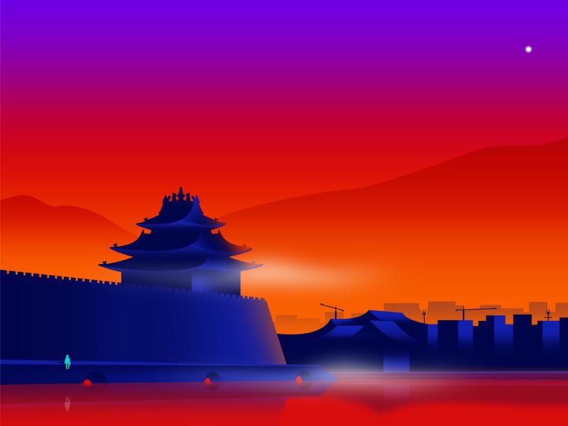 Sundown in China beijing china traditional old warm orange sunset temple gradient google color ui flat effyzhang illustration