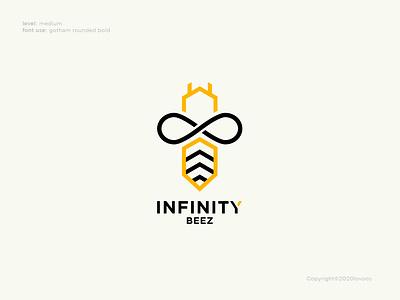 Infinity Beez Logo Concept bee logo infinity bee animal animation vector ui icon design logo illustration branding