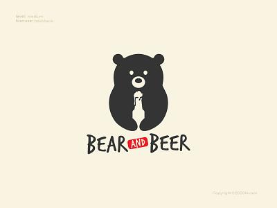 Bear and Beer Logo Concept bar designer beer bear web logo design illustration branding