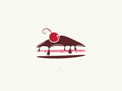Slice of Cake Illustration Vector ux ui branding logo chocolate sweet cherry cake pastry cakes vector design illustration