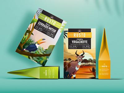 Rusto Coffee Packages coffee packaging illustration label drink branding roasted packaging bag coffee
