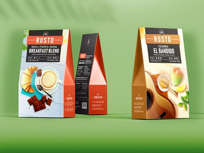 Rusto Coffee Packages colombia coffee cup label packaging coffee bandido blend breakfast
