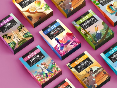 Rusto Coffee Packages illustration blend drink packages coffee