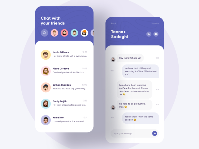 A Messaging App Concept 💬 pastel color message daily ui app design sketch video chat minimal purple memoji video call call chatting messenger chat concept typography clean app modern ui