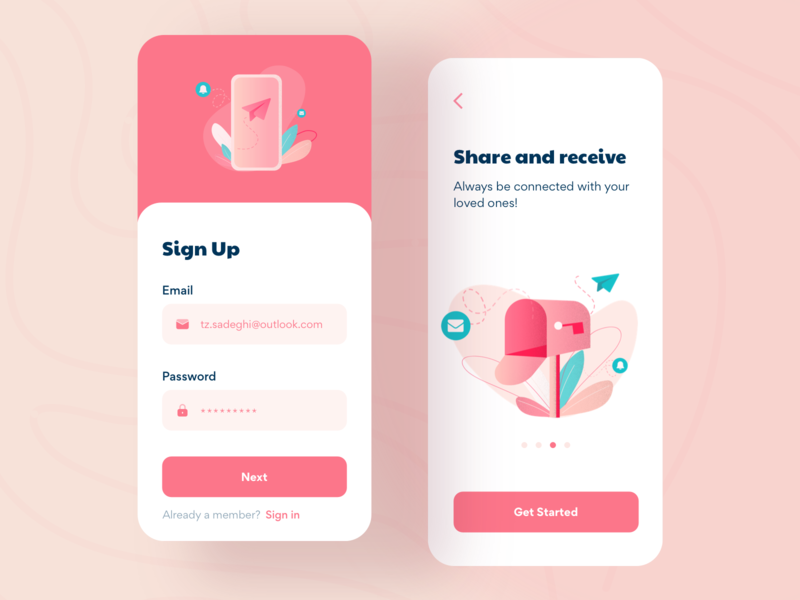 Sign Up and Walkthrough notification phone walkthrough sign in sign up email message color pink concept illustration minimal gradient clean typography modern app design dailyui ui