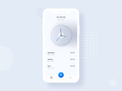 Clock App (Concept) gradient clean ui modern typography xd photoshop dailyui app design app time clock minimal ux blue design ui