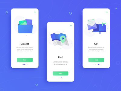 Daily UI Challenge #023 - Onboarding daily ui 023 modern gradient concept clean map onboarding ui onboarding green blue flat icon vector ux illustration app daily ui challange ui design dailyui