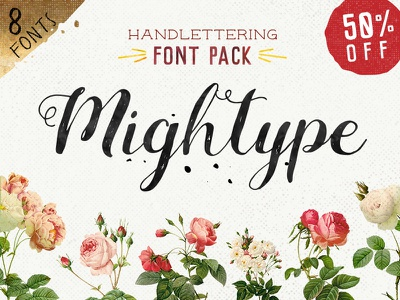 Mightype Handlettering Font Pack whimsical casual sans cursive font pack hand lettered handmade slab serif font script serif