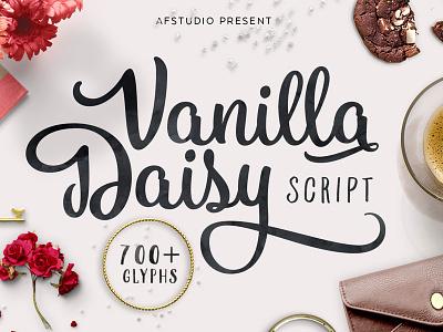 Dribbble Vanilladaisy beauty swashes swash floral flower typography type cursive vanilla script fonts font