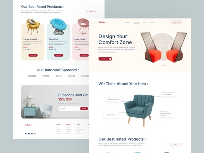 Rubic - eCommerce Landing Page colorful decoration chair homepage offers business home decor furniture abstract ux ui creative website shopping sofa ecommerce trending design web design landing page design