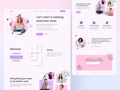 Meeting - Landing Page concept work colorful saas online meeting clean branding creative ui ux abstract website trending design design web design landing page