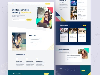 eLearning - Online education learning platform trend ecommerce ux web design website image smart colorful elearning platform learning education trending design conceptual landing page ui design abstract icon creative