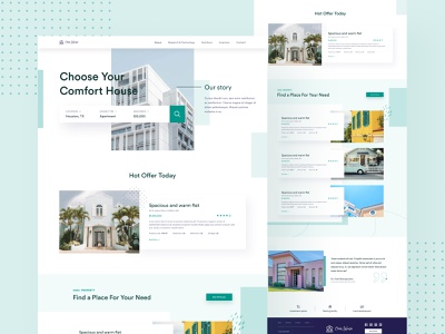 OwnHouse - Real Estate Landing Page simple purple property place rent real estate family buy home house abstract ux ui branding creative website trending design web design landing page design