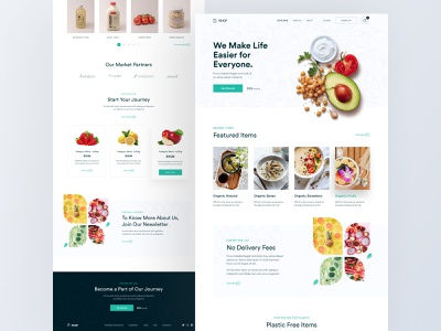 YShop- Grocery Landing Page typography fresh healthy clean delivery grocery shop food uiuxdesign web branding style abstract website creative trending design web design landing page design