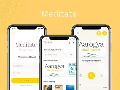 Meditate in 2020 design songs ui deisgn ux design ui ux mobile app meditation app meditation meditate