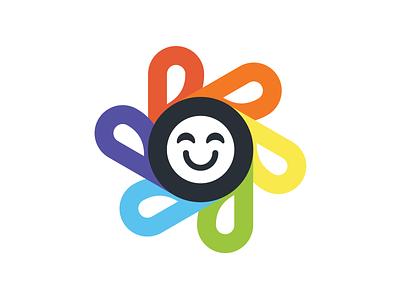 Be Happy branding vector design bold simple modern flower illustration symbolism symbol happy rainbow flower sticker design sticker
