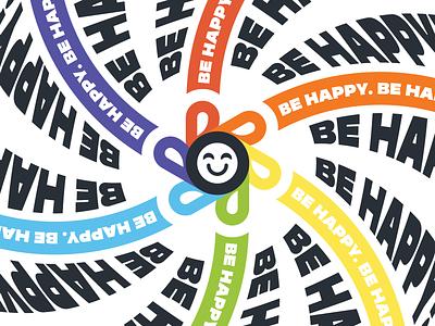 Be Happy Advertisment bold modern print blueprint sticker flower purple green orange yellow blue red graphicdesign graphic marketing branding vibrant typography poster design advertising