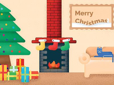 Merry Christmas Postcard winter holidays print design postcard design brick noise texture grain couch cat present gift ornament christmas tree tree fireplace stocking fire christmas postcard