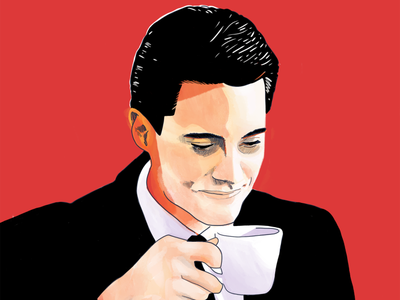 Agent Cooper 90s illustration twin peaks