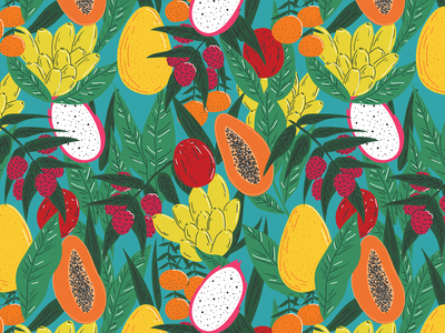 Fruit Salad food fabric fruit vintage plants pattern