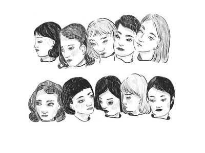 House of Mirrors faces drawing photoshop illustration