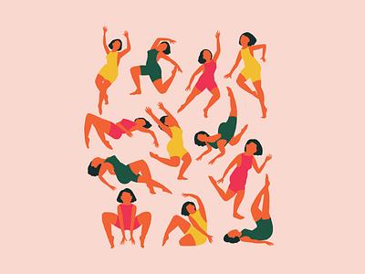 Modern Dancers movement figures dance minimal illustration