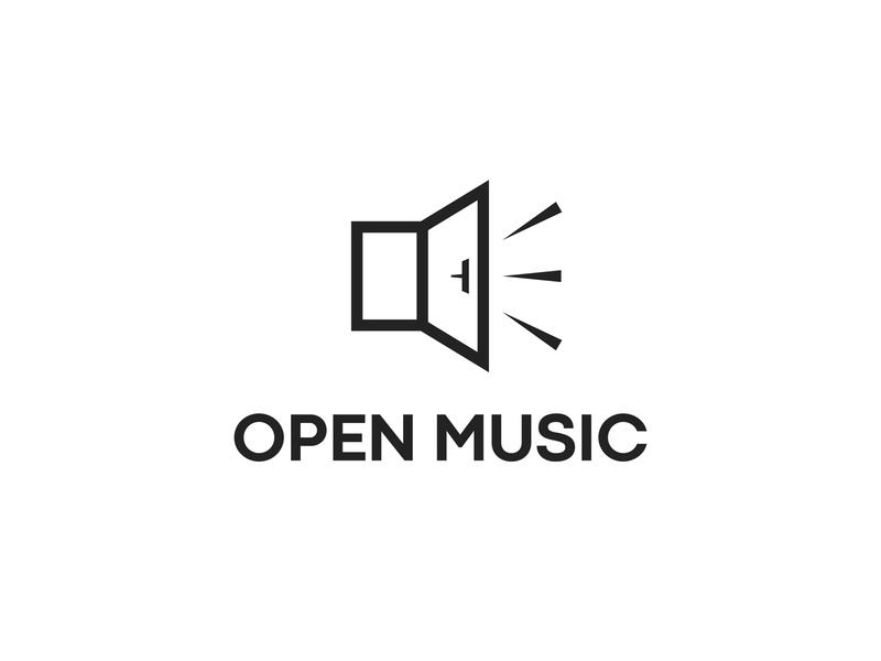 Open Music for sale music logo musician volume sound open music speaker open door door music smart logo design logo clever minimalism