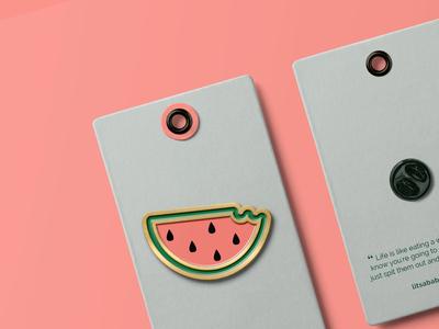 watermelon pin product branding merchandising marketing branding vector illustration design