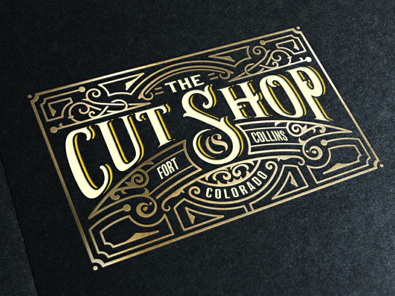 The Cut Shop ornaments typography floral logo old vintage