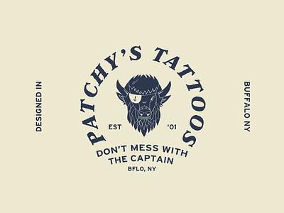 Patchy's Tattoos Illustration rustic logo rustic buffalo head buffalo ny buffalo tattoo tough sailor nautical heritage vanlife layout vintage brand logo vector illustration typography branding design