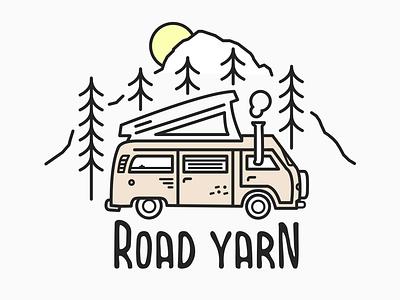 Road Yarn // Van Illustration vector illustrator road yarn typography line art sketch podcast road trip vanlife art illustration design branding