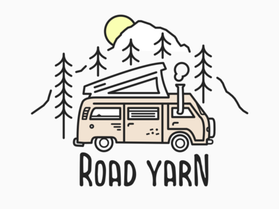 Road Yarn // Van Illustration vector illustrator road yarn typography line art sketch podcast road trip vanlife art illustration design branding