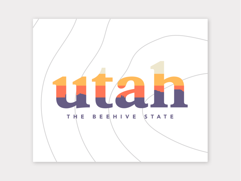 Utah Travel Logo Inspiration vector national parks nature illustration contour sunset utah logo design logo travel web design ux design uidesign typography design branding