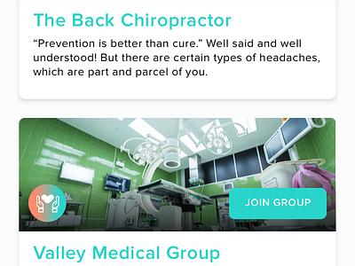 Patients & Group Therapies Discussion App design group chat pills caregiver doctor patients