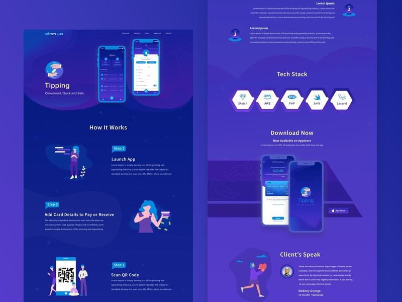 Tipping CaseStudy branding ui design website ios blue tip gradient app tipping