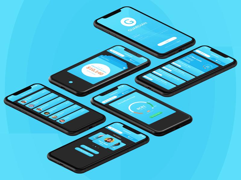 Insurance Sales & Data Tracking App UIUX uiux interface data tracking insurance app ui development android app ios gradient design blue