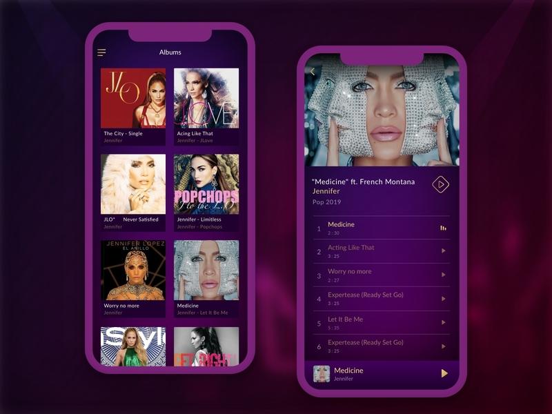 MPL - My Play List creative blue music app ui design design app design development pink purple musician music player gradient ui  ux music ios