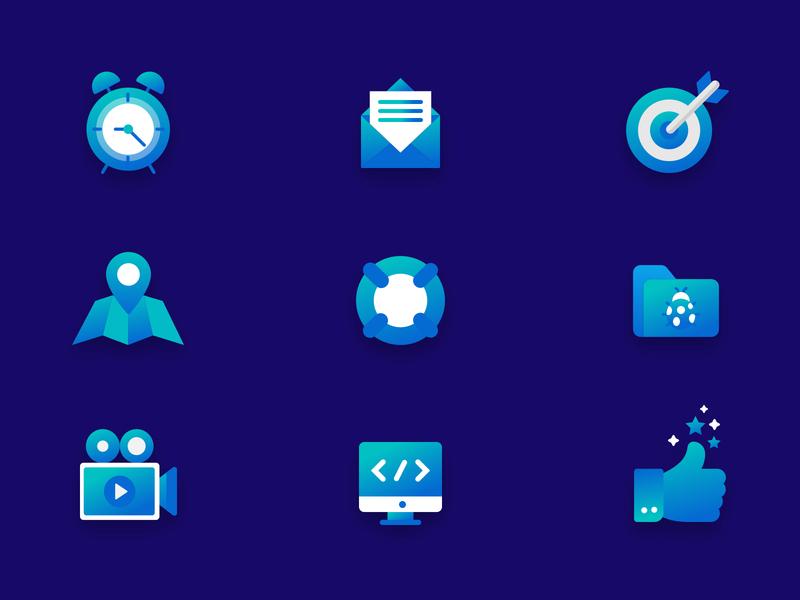 Icon pack icon design iconset icongraphy icon artwork illustration icon set gradient colorscheme blues