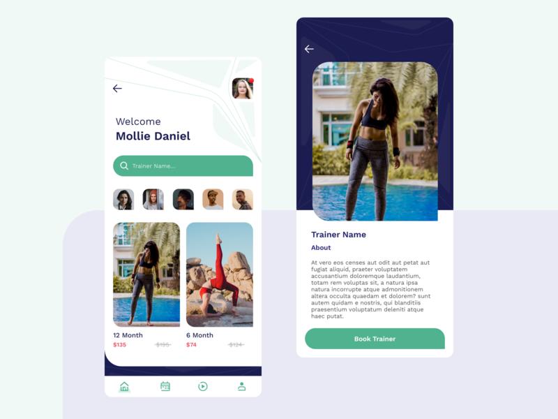 Fitness Trainer App Concept concept design fitness video green ui design app design fit finder design los angeles development ui trainer fitness app