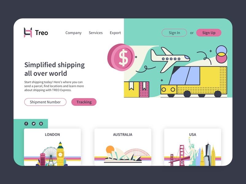 Worldwide Shipping Landing-page Exploration wvelabs pink tracking trendy landingpage green worldwide shipping company design logo vector branding illustration los angeles