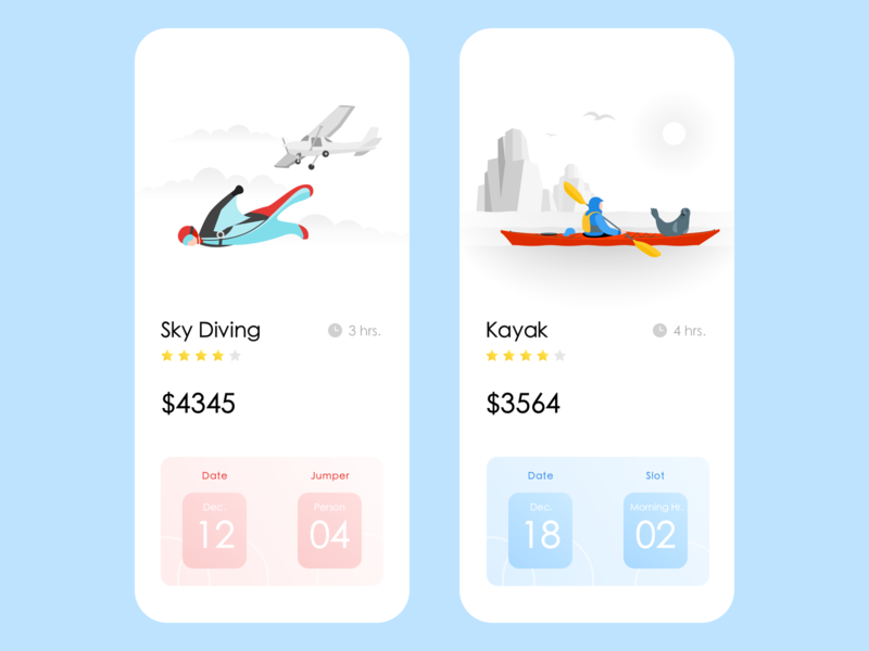 Adventure App sports wvelabs kayak skydiving adventure uiux ui design app design uidesign illustration development los angeles gradient ios design