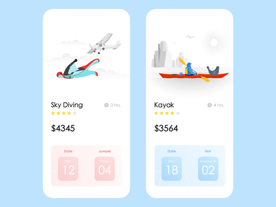 Adventure App sports wvelabs kayak skydiving adventure uiux ui design app design uidesign illustration development los angeles gradient ios design