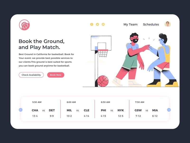 Basketball Website branding webuiuxdesign uidesign los angeles flat  design basket ball basketball player booking system illustration vector design website design basketball