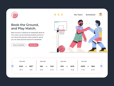 Basketball Website branding webuiuxdesign uidesign los angeles flat  design basket ball basketball player booking system illustration vector design website design basketball