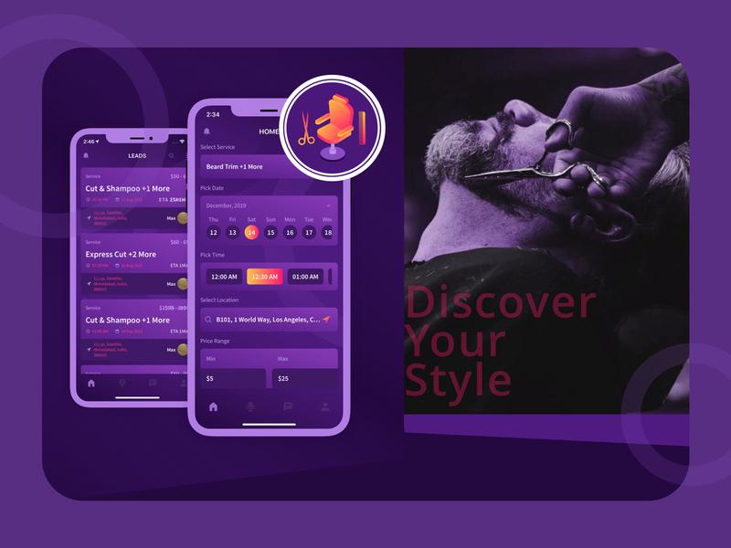 "Salon Mobile App - ""Openchair"" mobile app design scissor hairstylist development purple mobile ui stylist haircut barber uiux design mobile app gradient"